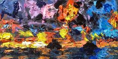 'Islands in the Sunset' ---- by Derfla (12 x 24 inches) acrylic on wood panel, $200