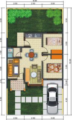 43 Home Interior Design Type 36 Ideas 26 3d House Plans, Model House Plan, Small House Plans, Design Your Dream House, Small House Design, Modern House Design, Home Design Plans, Home Interior Design, Type 45
