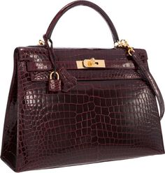 Hermes 32cm Shiny Bordeaux Porosus Crocodile Sellier Kelly Bag with Gold Hardware