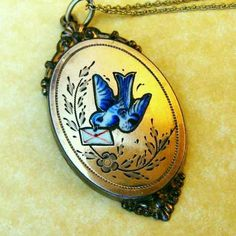 Antique Victorian Gold Filled Enamel Swallow with Love Letter Pendant Necklace. Originally pinned by Sandy Weinstein (yogiw)