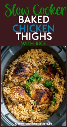 If youre searching for the best recipe for chicken thighs then youve got to give these Slow Cooker Baked Chicken Thighs with Rice a try! Youve never made a chicken thigh recipe easier or tastier than this! Chicken Thighs Slow Cooker Recipes, Slow Cooker Chicken Thighs, Crockpot Chicken Healthy, Slow Cooked Meals, Healthy Slow Cooker, Chicken Recipes, Dinner Crockpot, Chicken Cooker, Oven Chicken