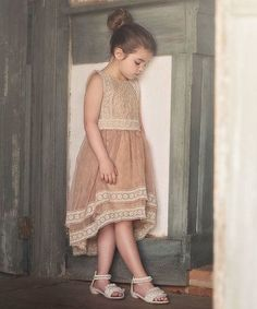 $39.99! Look what I found on #zulily! Tan Lace Delphine A-Line Dress - Toddler & Girls #zulilyfinds