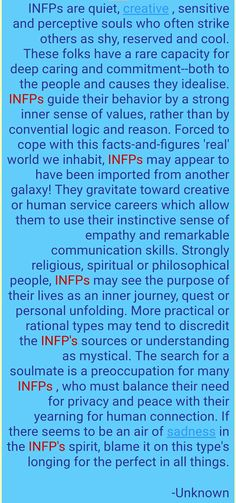 """More practical or rational types may tend to discredit the INFP's (Mediator personality) sources or understanding as mystical."" <---- Yes, I am a Unicorn! Infp Personality Type, I Am A Unicorn, Infj Infp, Get To Know Me, In This World, Feelings, Words, Psychology Quotes, Thoughts"