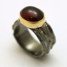 Garnet Ring Oxidised Sterling Silver