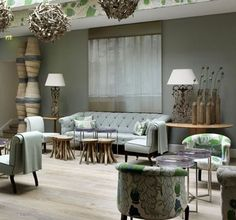 Haymarket Hotel, London, UK. Firmdale Hotels. Like the painting acting as a window, muted colour scheme.