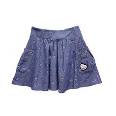 Women Heart Style Printing Pleated Waist Elasticity Cotton Short Blue... ($68) via Polyvore