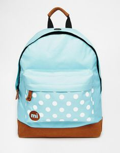 Mi-Pac | Mi-Pac Backpack in Mint with Contrast Spot Pocket at ASOS