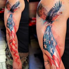 A Tattoo Archive — American Flag Tattoo Artist: Fernando Shimizu Tattoo Life, Epic Tattoo, Badass Tattoos, Back Tattoo, Patriotische Tattoos, Wolf Tattoos, Animal Tattoos, Body Art Tattoos, Sleeve Tattoos