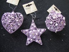 3 x Lilac Lavender Jewel Vintage style Christmas tree Baubles Decorations