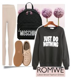 """""""ROMWE"""" by mersida-1 ❤ liked on Polyvore featuring Graham & Brown, Moschino, adidas Originals and Nly Shoes"""