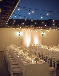 all white outdoor reception bistro lights bacara resort @Ana G. García Resort
