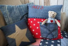 Use up old jeans and scraps Recycle Old Clothes, Recycle Jeans, Jean Crafts, Denim Crafts, Sewing Pillows, Diy Pillows, Sewing Crafts, Sewing Projects, Denim Ideas