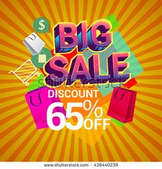Big sale promo department store, Big sale discount 65% off banner template design with colorful geometric background. Sale banner template design. - stock vector