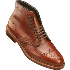 Alden Men's 5 Eyelet Wing Tip Boot in Brown Alpine Grain Leather
