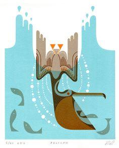 Stylized pelican - Doug Ross