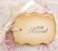 Just Married Vintage Tags, Wedding Favor Tag, Elegant, Ivory, Ornate