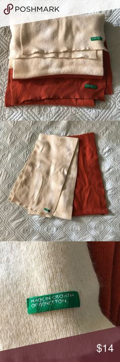 Benetton Wool Scarf Set Two wool Benetton scarves. Cream and burnt orange. Good used condition. These colors go with everything. United Colors Of Benetton Accessories Scarves & Wraps