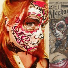 """""""Comic Book Inspired""""  Steampunk sugar skull, inspired by the Lady Mechanika comic book cover art, painted by Marie Sulcoski"""