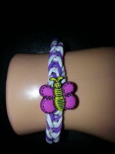 Cute Butterfly loom band bracelet hand made by nannasKnitneys, $4.99