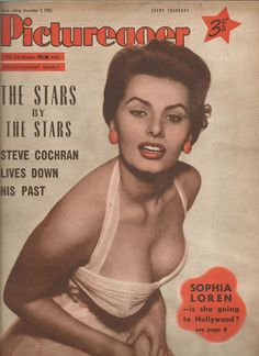 Sophia Loren on the cover of Picturegoer magazine, December 3, 1955, UK.