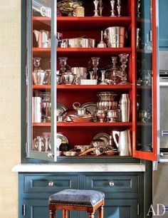 Silver storage - blue cabinet with red painted interior - Houston, Texas home of J. Randall Powers and William L. Interior decoration by J. Photography by Eric Piasecki. Modern Kitchen Design, Modern House Design, Interior Design Kitchen, Kitchen Decor, Interior Decorating, Red Kitchen, Modern Interior, Orange Interior, Nice Kitchen
