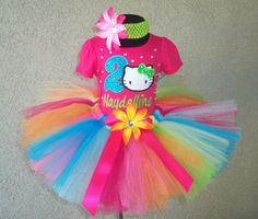 Hot Pink Blinged Hello Kitty Birthday Girls Personalized Tutu Outfit