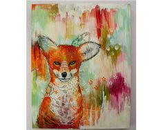 folk art Original fox painting whimsical boho by thesecrethermit