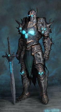 m Fighter Lich Plate Armor Helm Greatsword Mortem Keeper of the North District Minion of the Reaper lg Fantasy Concept Art, Fantasy Armor, Fantasy Character Design, Dark Fantasy Art, Character Art, Medieval Fantasy, Character Inspiration, Death Knight, Dark Warrior
