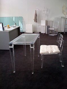 Top Acrylic Home Office Desks in Your Work Space: Plexi Craft Lucite Desk ~ jillyshappyhome.com Office Room Inspiration