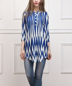 Look at this Blue Chevron Notch Neck Tunic on #zulily today!
