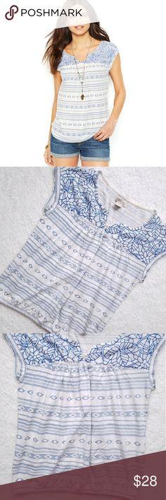 """Lucky Brand Santorini Top Lucky Brand Santorini Top,  white with blue embroidery, cap sleeves and elastic band at bottom  16"""" across bust  21.5"""" length Lucky Brand Tops Tees - Short Sleeve"""