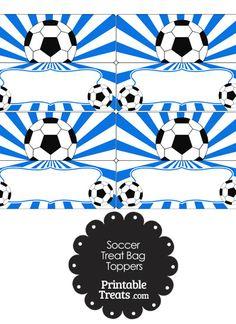 Blue Sunburst Soccer Treat Bag Toppers from PrintableTreats.com