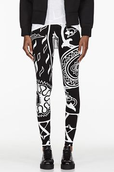 KTZ Black 4 Cards Print Leggings