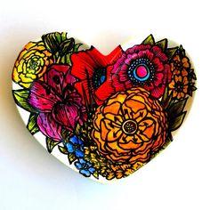 Ceramic Heart Dish Hand Painted Flower Garden by sewZinski