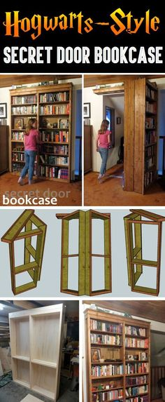 Hogwarts-Style Secret Door Bookcase For Book Lovers! – Cute DIY Projects - Hogwarts-Style+Secret+Door+Bookcase+For+Book+Lovers! Hidden Spaces, Hidden Rooms, Hogwarts, Cute Diy Projects, Home Projects, Diy Projects For Bedroom, Diy Furniture Projects, Bookcase Door, Bookcases