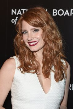 Use a one-inch curling barrel in alternating directions to create natural-looking beachy curls like Jessica Chastain's.