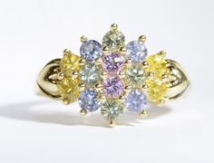 Vintage Colorful Stone Round Cut Ring Set in by LadyLibertyGold