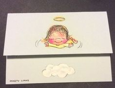 Hallmark Vtg Postalettes Fold And Mail Notecards Marty Links Baby Angel Cloud