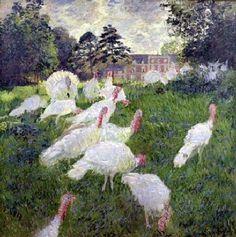 White Turkeys, Claude Monet, 1876, Oil on Canvas, Musee du Louvre  Delightful.