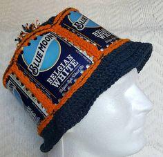 9b71229d6f9 Handmade Crochet Blue Moon Beer Can Hat by GiftedAcorn on Etsy Blue Moon  Beer
