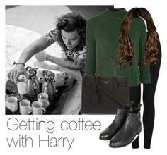 """Getting coffee with Harry"" by style-with-one-direction ❤ liked on Polyvore featuring Topshop, Yves Saint Laurent, women's clothing, women, female, woman, misses, juniors, OneDirection and harrystyles"