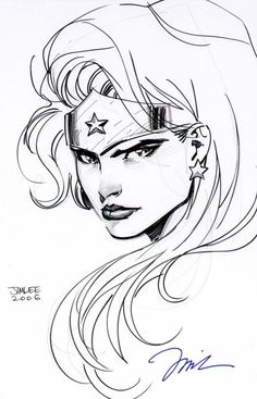 Amazing pen & ink Wonder Woman by Jim Lee.