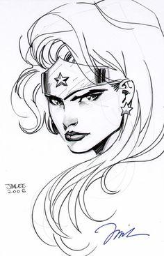 Amazing pen & ink Wonder Woman by Jim Lee.
