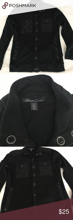 Kenneth Cole button sweater.  Very hip casual look Kenneth Cole button sweater.  Very hip casual look.  Great fall sweater. Would look great with a pair of jeans. Normal wear. Kenneth Cole Sweaters