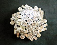 Weiss Unsigned Brooch Clear Cluster Rhinestone by RenaissanceFair