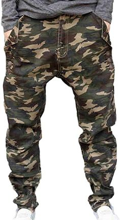 a99c93aecdb09 Liveinu Men s Button Details Camouflage Drop Crotch Harem Pants Blue 2XL at Amazon  Men s Clothing store
