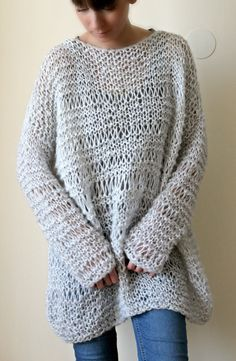 Very Light Grey Extra Large Women Sweater Hand Knitted From NastiaDi.  Sweater Is Hand Knitted · Mohair SweaterMohair YarnDaily ...