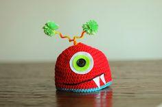 silly red monster newborn crochet photo prop hat by ManyHappyHours, via Etsy. Newborn Crochet, Crochet Baby, Knit Crochet, Monster Party, Crochet For Boys, Learn To Crochet, Crochet Photo Props, Crochet Beanie Hat, Crochet Toys