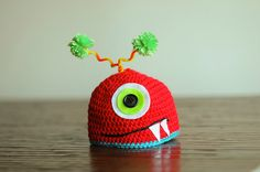 silly red monster newborn crochet photo prop hat by ManyHappyHours, $15.00