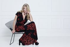Ossie Clark's new collection. Black and Orange Maxi Dress.